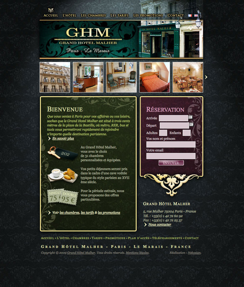 Webdesign Grand Hôtel Malher full screen