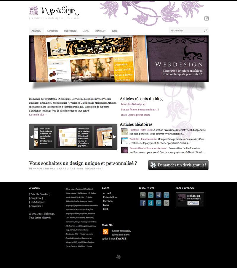 Webdesign Nekosign v3 fulls creen