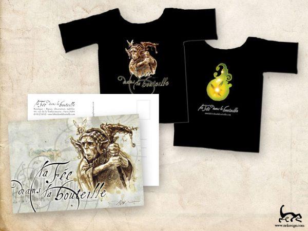Print Carte & T-shirts La fée dans la bouteille