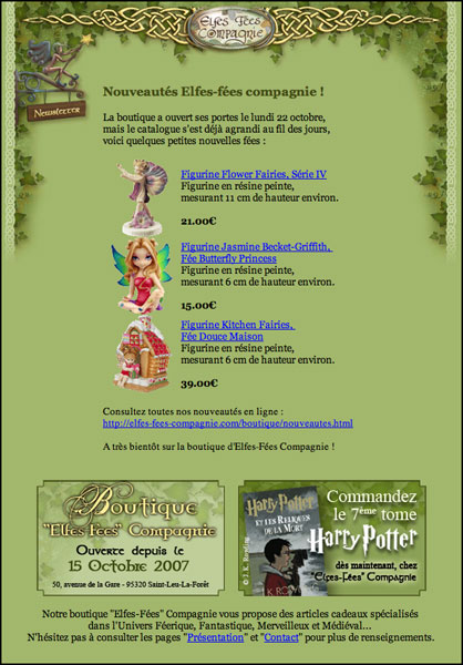 Com Elfes-Fées Compagnie Newsletter 2007