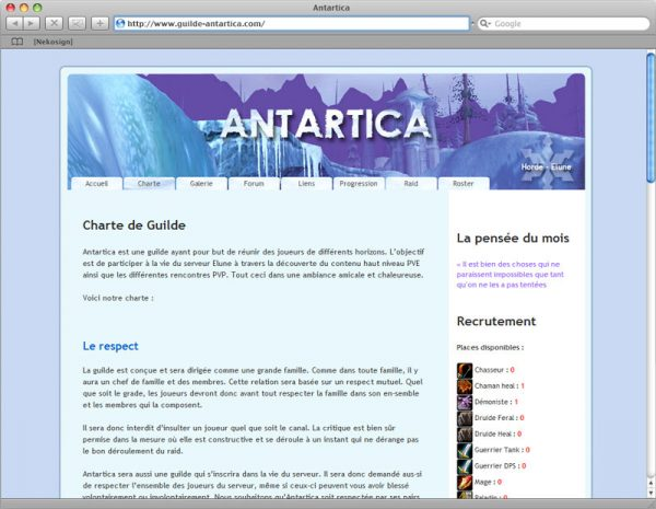 Webdesign Site Antartica - Informations