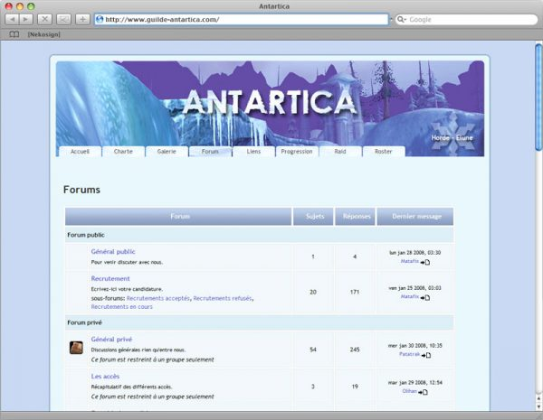 Webdesign Site Antartica - Forum