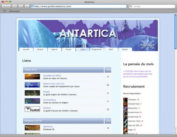 Webdesign Site Antartica - Liens