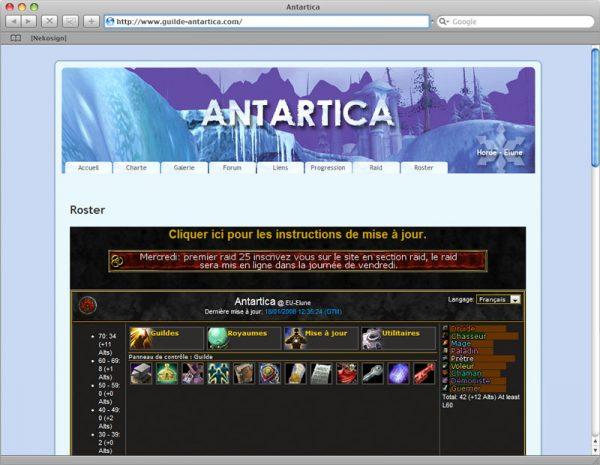 Webdesign Site Antartica - Roster