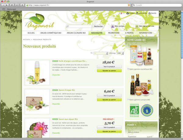 Site Arganoil - Nouveautés