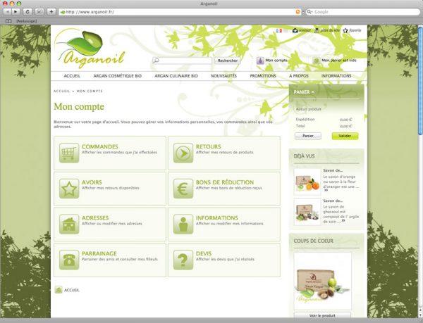 Site Arganoil - Compte