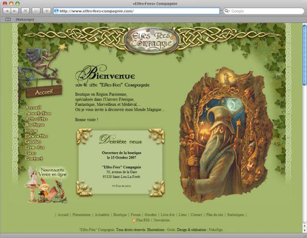 Webdesign Site Elfes-Fées Cie v1 - Accueil