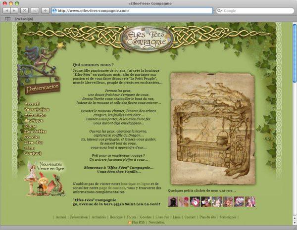 Webdesign Site Elfes-Fées Cie v1 - Info