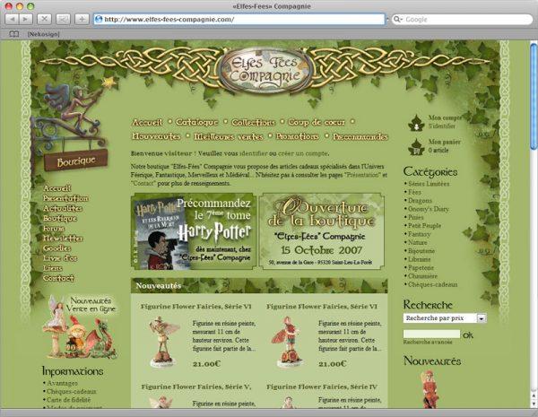 Webdesign Site Elfes-Fées Cie v1 - Boutique