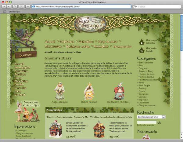 Webdesign Site Elfes-Fées Cie v1 - Rubrique