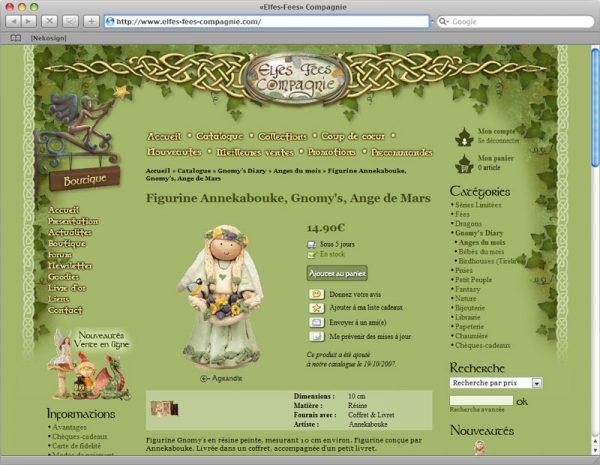 Webdesign Site Elfes-Fées Cie v1 - Fiche