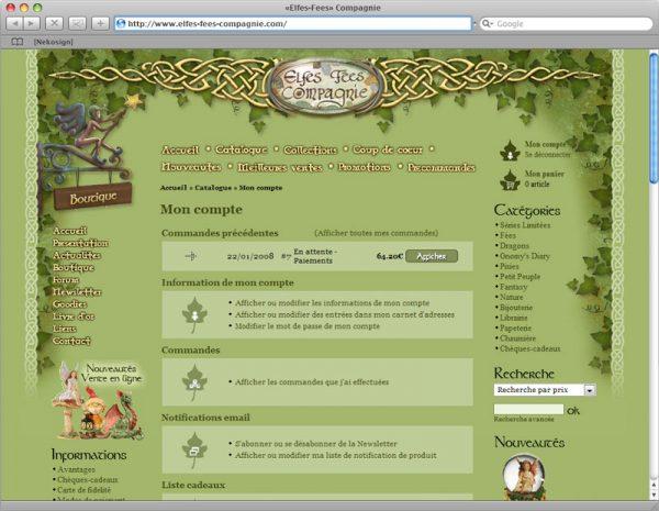 Webdesign Site Elfes-Fées Cie v1 - Compte