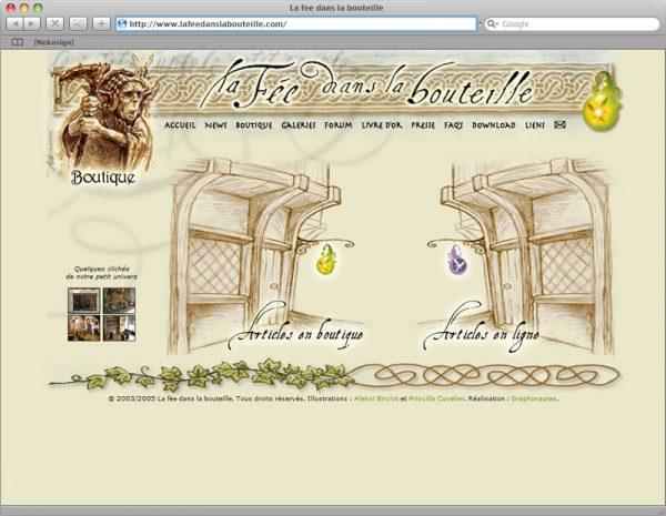 Site La fée dans la bouteille v5 - Boutique