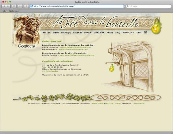 Site La fée dans la bouteille v5 - Contact