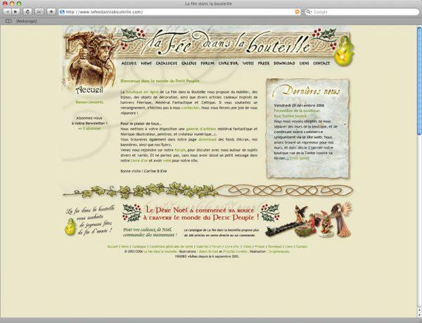 Webdesign Site La fée dans la bouteille v6 - Accueil