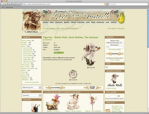 Webdesign Site La fée dans la bouteille v6 - Fiche produits