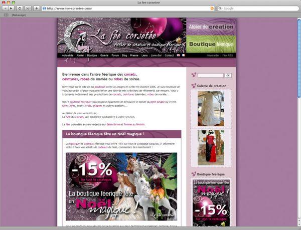 Webdesign Site La fée corsetée v2 Noël 2007 - Accueil