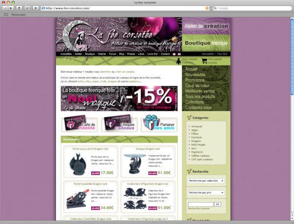 Webdesign Site La fée corsetée v2 Noël 2007 - Boutique