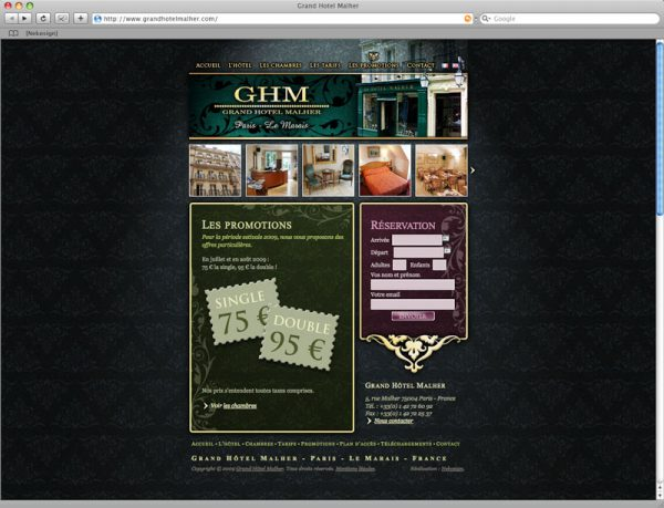 Site Grand Hôtel Malher - Promotions
