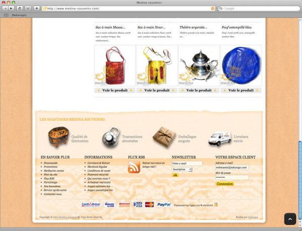 Site Medina Souvenirs - Accueil Bas de page