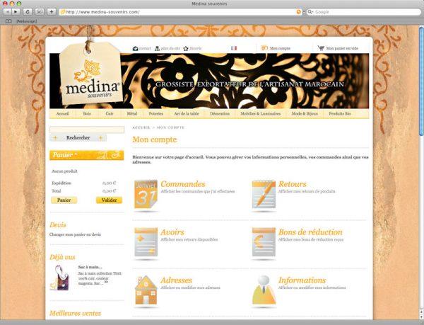 Site Medina Souvenirs - Compte