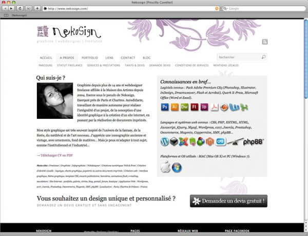 Site Nekosign v3 - Profil
