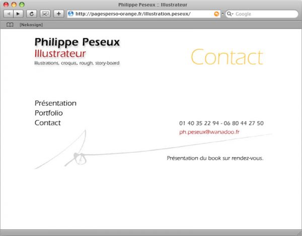 Site Philippe Peseux v1 - Contact
