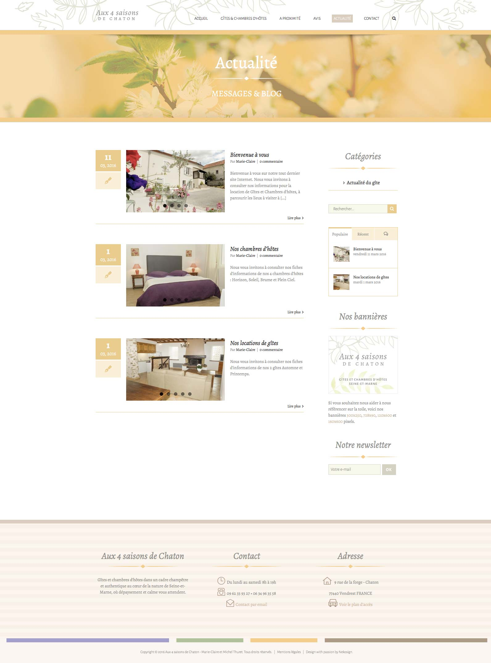 Aux 4 saisons website vitrine blog