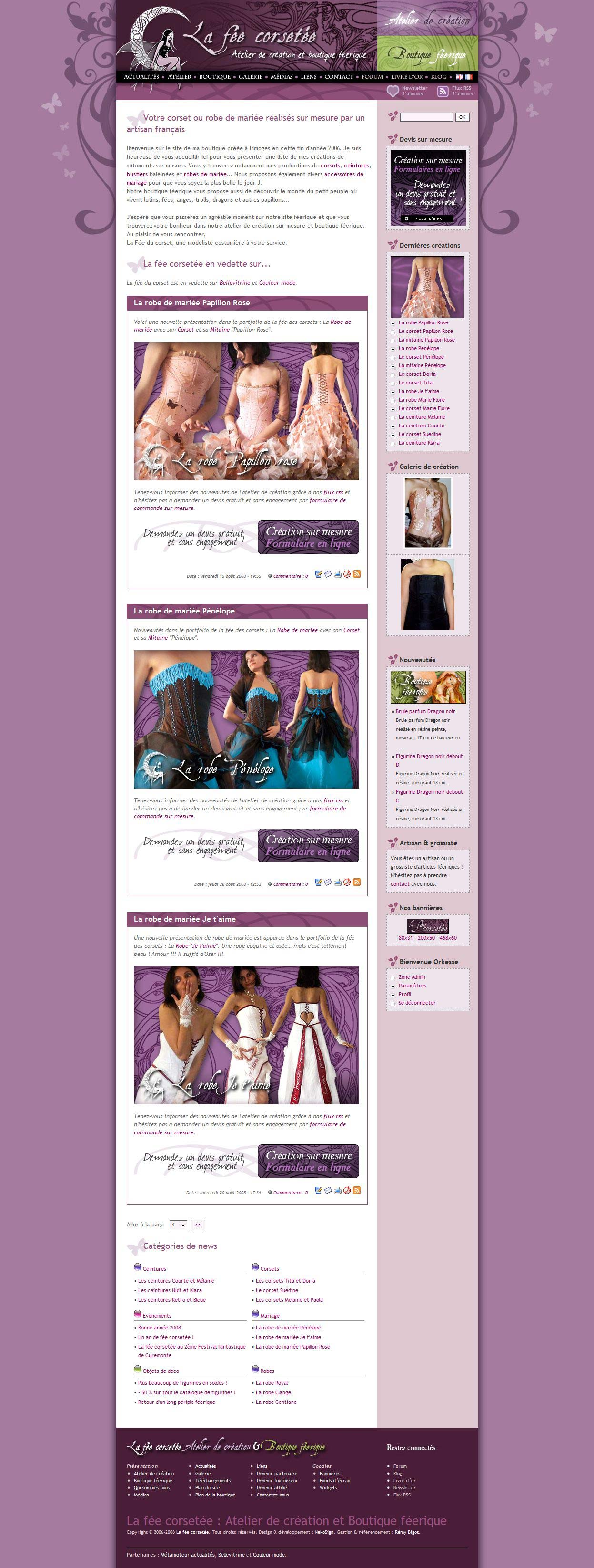 Interface La fée corsetée v3 website home