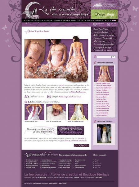Interface La fée corsetée v3 website portfolio