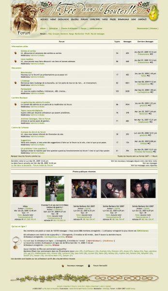 Interface La fée dans la bouteille website forum