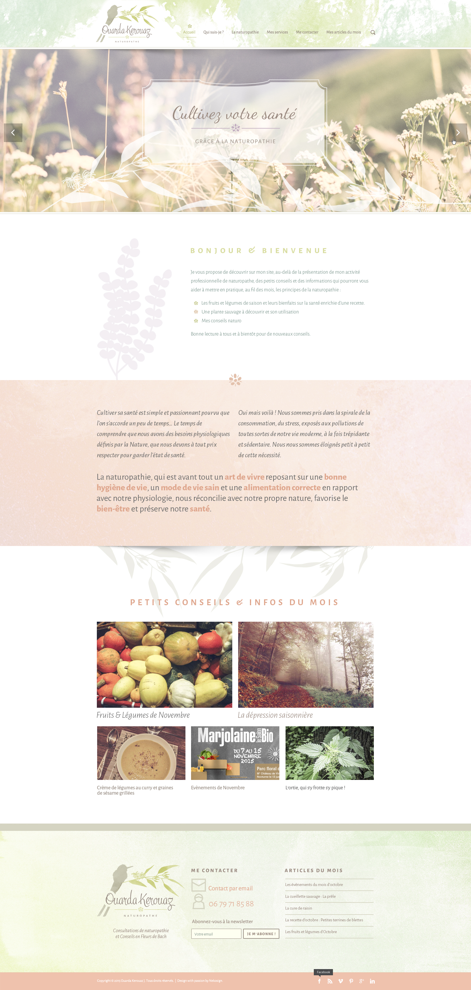 Interface Ouarda kerouaz Naturopathe Website vitrine