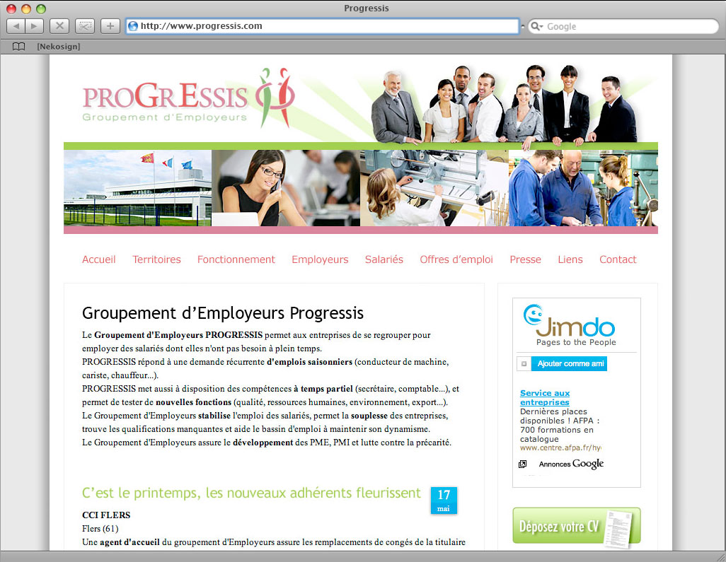 Progressis Website header