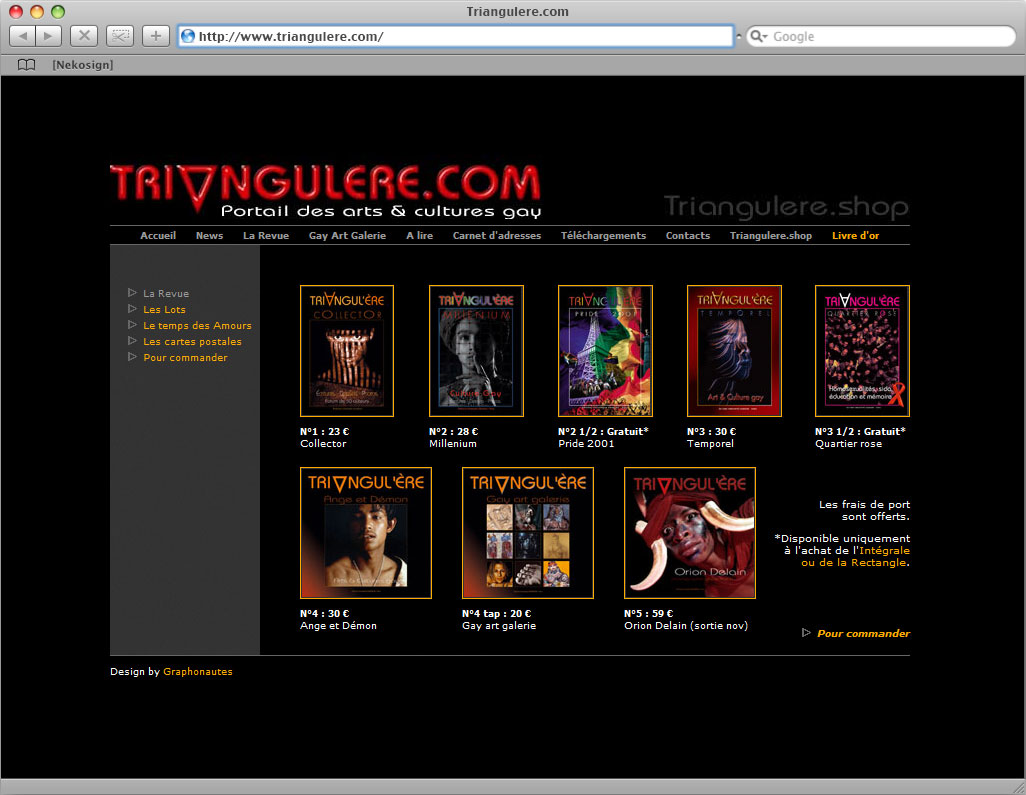 Interface Triangul'ère website shop