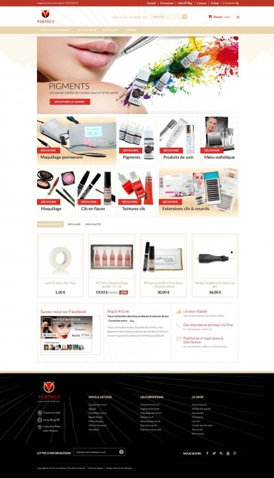 Interface Verthis website eshop