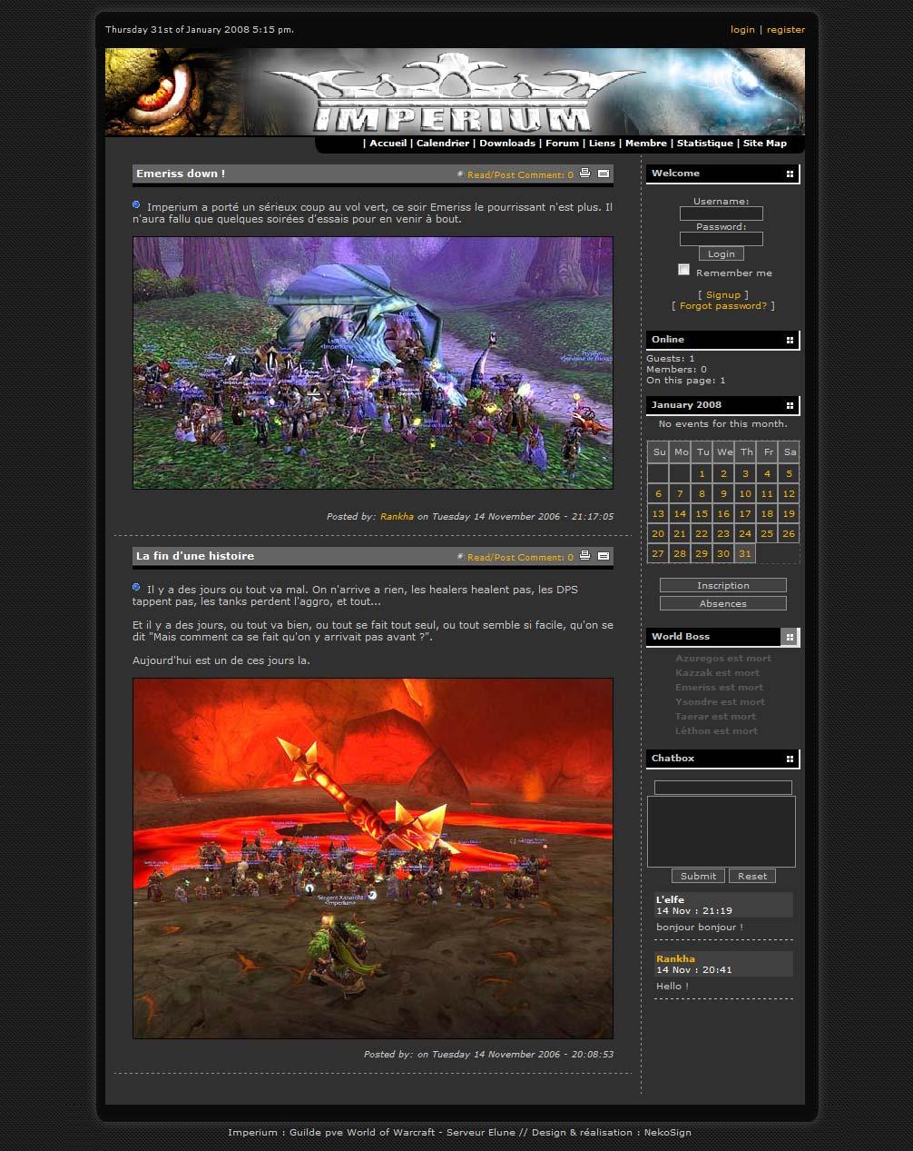 Interface Wow Imperium website forum