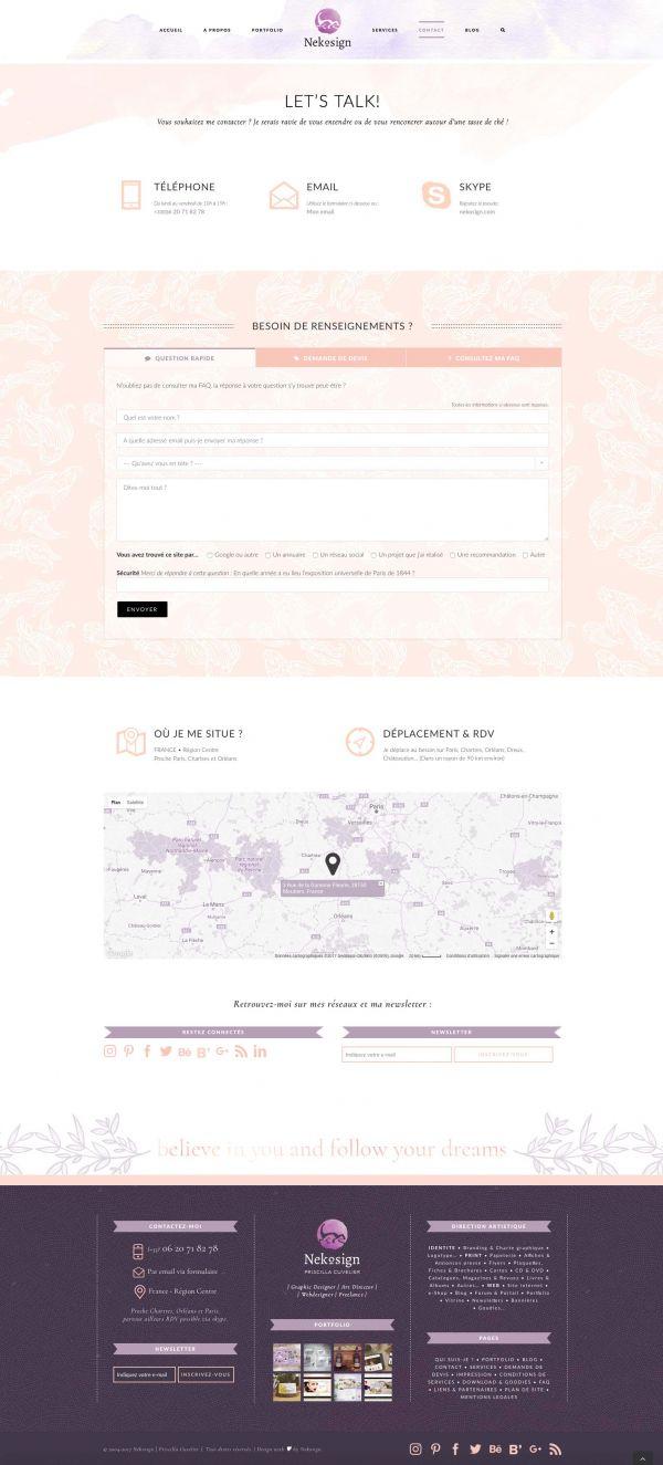 Webdesign page de contact «Nekosign»