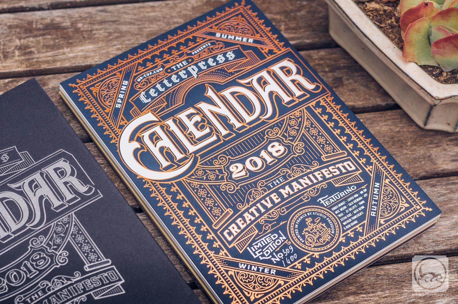 Calendrier letterpress 2018 Couverture
