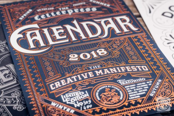 Calendrier letterpress 2018 - Couverture par Ginger Monkey