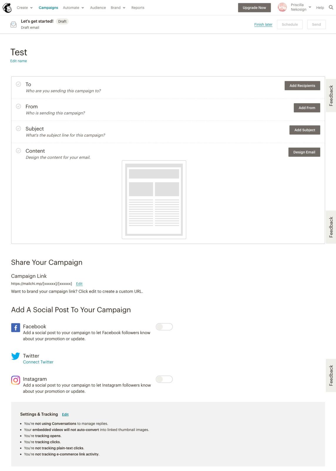 Mailchimp campaigns fenetre create